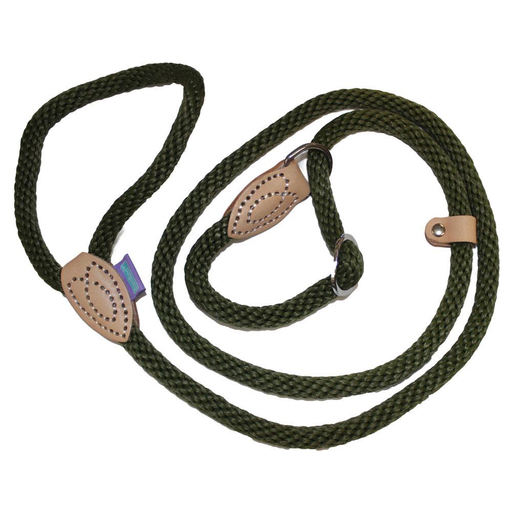 Hemm and Boo Soft Nylon Rope Slip Lead and Halter Green