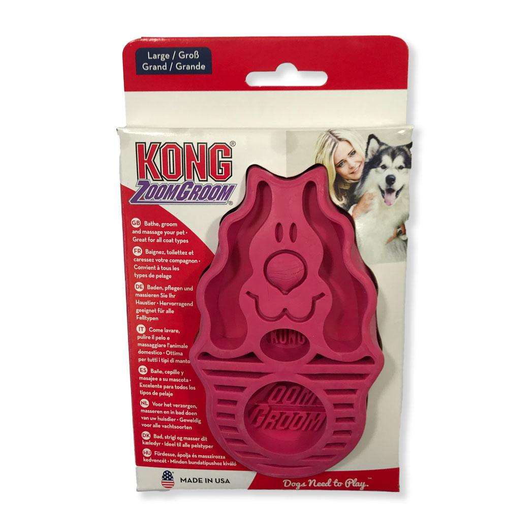Kong Zoom Groom Pet Brush Raspberry